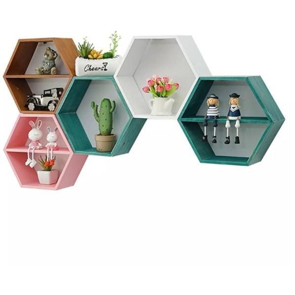 Hexagon Ξύλινο Διακοσμητικό Ράφι Ροζ 44x38x10cm