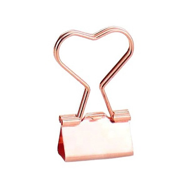 Heart Κλιπ Σε Σχήμα Καρδιάς Ροζ Χρυσό 25mm