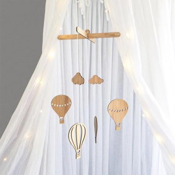 Balloon Ξύλινο Κρεμαστό Mobile Με Αερόστατα 22x35cm