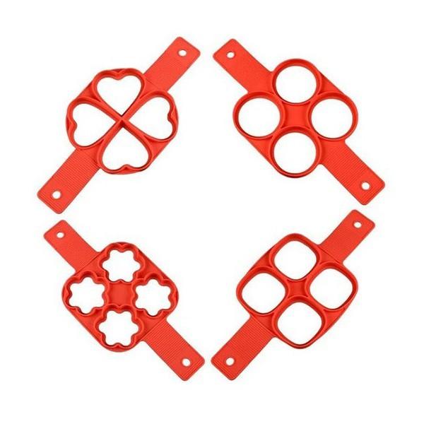 Pan Αντικολλητική Φόρμα Σιλικόνης Για Pancakes Τετράγωνο Κόκκινο 34x16x1,5cm