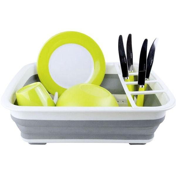 Dishes Πτυσσόμενη Πιατοθήκη Γκρι Πλαστική 36,5x31,5x13cm