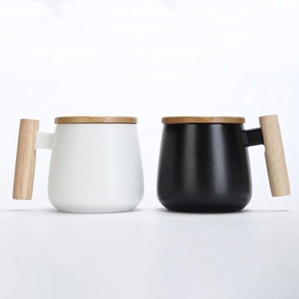 Tazza Κούπα Κεραμική Με Ξύλινη Λαβή & Ξύλινο Καπάκι Μαύρο 8x8.5cm 425ml
