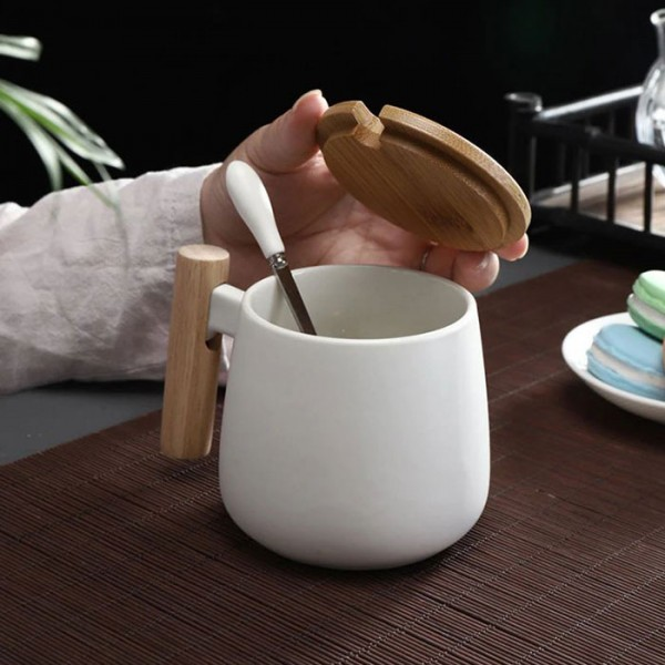 Tazza Κούπα Με Ξύλινη Λαβή & Ξύλινο Καπάκι 8x8.5cm 425ml