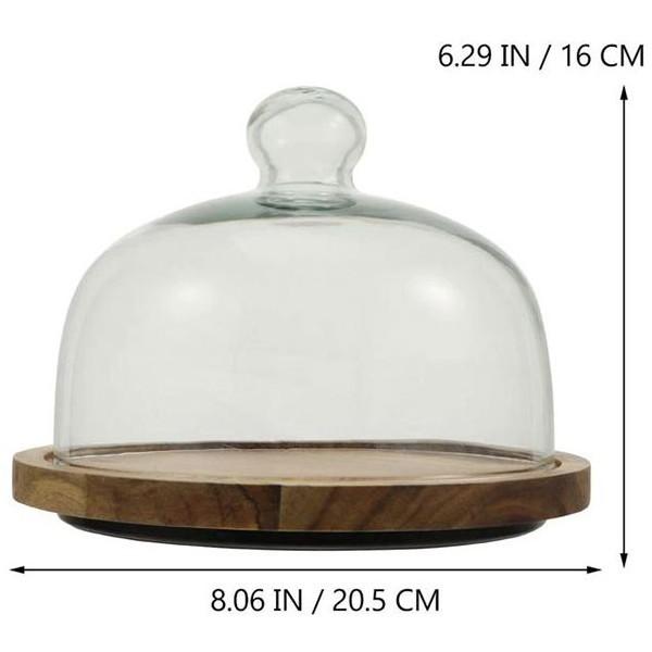 Sweet Περιστρεφόμενη Βάση Για Κέικ Ξύλο Με Γυαλί 20.4x16.8cm