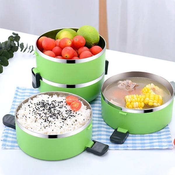 Pot Δοχείο Φαγητού Πλαστικό Σε 4 Επίπεδα Πράσινο 15x30cm