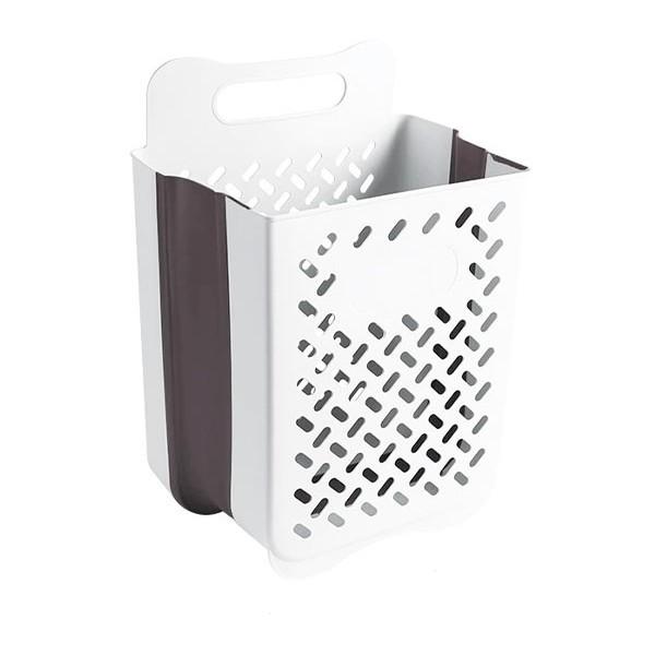Laundry Αναδιπλούμενο Κρεμαστό Καλάθι Απλύτων Λευκό 25x35x49cm