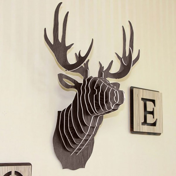 Hunt Διακοσμητικό DIY Ξύλινο Κεφάλι Ελαφιού Καφέ 29.5x21x37cm